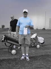 Tamer, winner of the longest drive, in blue