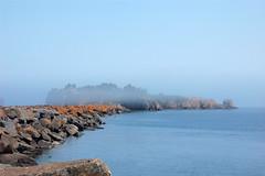 Pellet Island (Haikiba) Tags: minnesota fog island northshore lakesuperior silverbay breakwater pelletisland