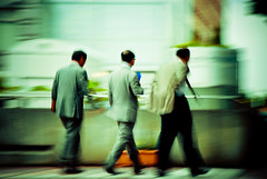 Salarymen (manganite) Tags: blue people motion blur men green topf25 colors japan digital geotagged asian japanese interestingness xpro nikon colorful asia tl turquoise candid cyan streetscene explore  nippon d200 nikkor dslr panning vignette nihon kanto tsukuba ibaraki businessmen salarymen june8 interestingness187 i500 18200mmf3556 utatafeature manganite nikonstunninggallery june82006 geo:lat=36082085 geo:lon=140112956 date:year=2006 date:month=june format:ratio=32