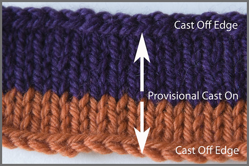 bi-directional stockinette (sticking stitch) sample. You can knit in both directions and the seam is invisible. Think of the ramifications!