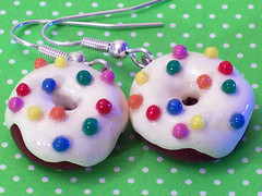 Circus Doughnut Earrings (magicbeanbuyer) Tags: food dessert miniature handmade jewelry polymerclay clay donut doughnut earrings crafting polymer jamieferraioli magicbeanbuyer