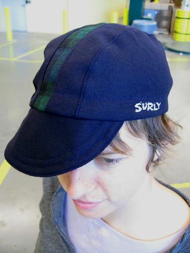 Navy Cap w/Plaid Stripe