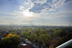 smoggy tuesday (aardvark.) Tags: park city autumn trees toronto fall colors silhouette skyline clouds smog cityscape colours cntower background aerial blooms neighborhoods within canonefs1755mmf28isusm torontoblooms acitywithinapark anilkanji