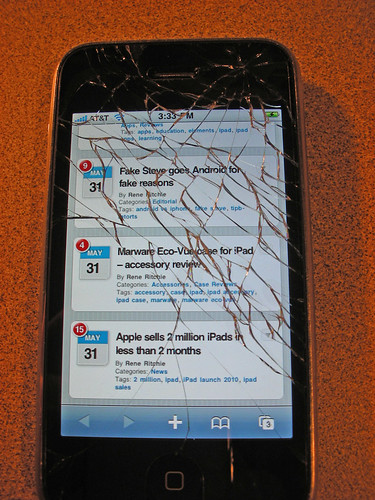 cracked iphone screen - Day 4