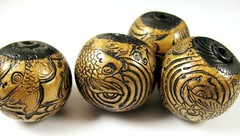 Antique Gold and Black Japanese Koi Fish Focal Beads (5)
