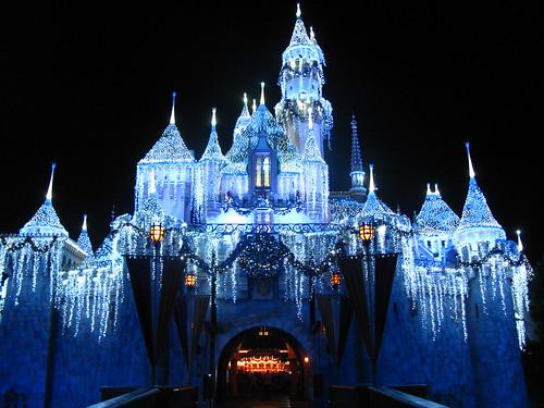 Sleeping Beauty's Winter Castle Lighting in front of the Castle