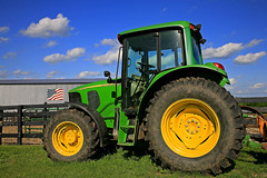 American Symbols (FotoEdge) Tags: ranch sunset green field work reflections garden evening geese glow cattle farm flag turtles missouri frogs fencing plow yellows jd reds kearney johndeere acreage claycounty springfedpond fotoedge cattlepen coolwaters americansybols