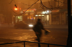 Tales Of The Fog // 5 of 6 (Lady Vervaine) Tags: christmas street city uk winter light england urban mist cinema man blur cold tree male london film wet misty fog night dark movie evening amber still movement glow shine darkness britain masculine camden foggy running run glowing cinematic guesswherelondon stillness camdenroad gwl talesofthefog