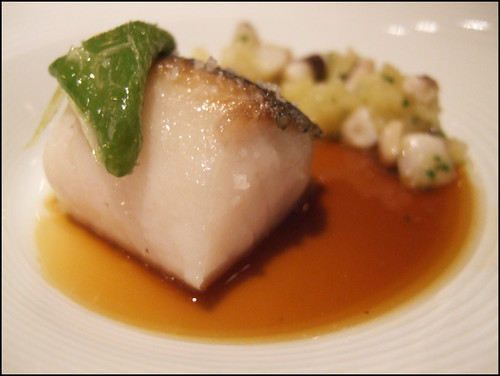 Manresa (Los Gatos) - Black cod in calamari-anchovy broth, potato