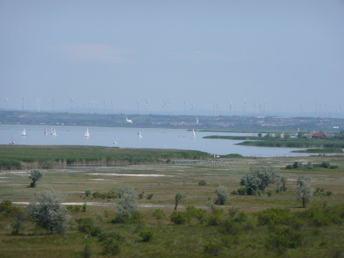 View of the lake, sailboats and windmills from the lookout tower