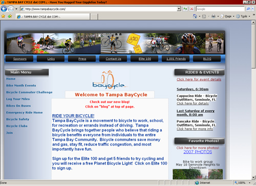 Tampa BayCycle homepage
