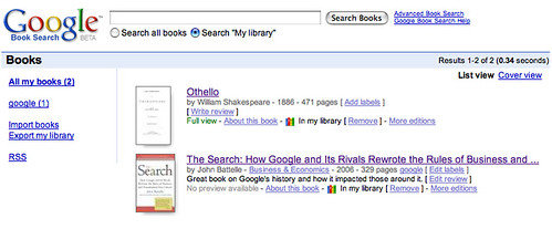 Google Book Search My Library
