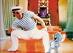 Gene Kelly in Anchors Aweigh (1945) (Hollywood Fashion Vault) Tags: hat stripes brooch sailor nautical redandblue genekelly menswear anchorsaweigh linenpants retrotheme officeappropriate