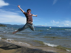 johndbritton jumping at Lake Tahoe in Twilio shirt