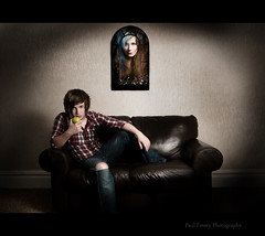 Semi-Mental (Paul Fessey) Tags: girl shirt umbrella paul mirror living nikon room ripped emma jeans sofa d300 sb800 strobist fessey mwahahahahahahaaaa