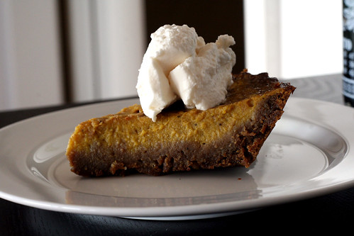 pumpkin pie with a ginger snap crust