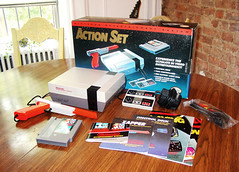 Nintendo Entertainment System Action Set (Rob Boudon) Tags: poster box cords nintendo instructions nes cart controller zapper cartridge duckhunt supermariobros 118thstreet spanishharlemapartment
