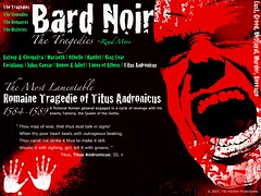The Tragedies. A webpage mockup for my digital typography course. Bard Noir is an intereactive timeline of Shakespeare's plays separated into the four genres; Tragedies, Comedies, Romances, and Histories.