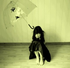 umbrella-me-better (horriblecherry) Tags: girl strange umbrella penguins dress surreal insanity emptyhouse