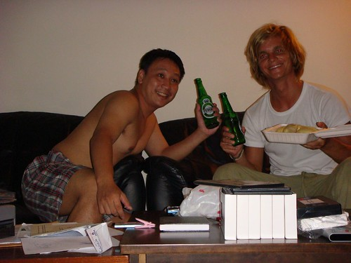 Tuborg and smelly durian fruit in my host Neil's house in Hougang, Singapore.