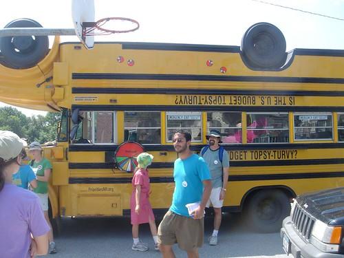 The topsy-turvy bus
