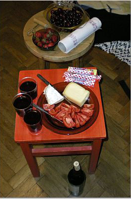 Li'l wine and cheese party at Karolina's, Budapest