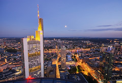 Commerzbank and the moon (Philipp Klinger Photography) Tags: sky moon germany deutschland nightshot frankfurt main luna commerzbank galileo maintower ezb dresdnerbank outstandingshots superhearts dcdead