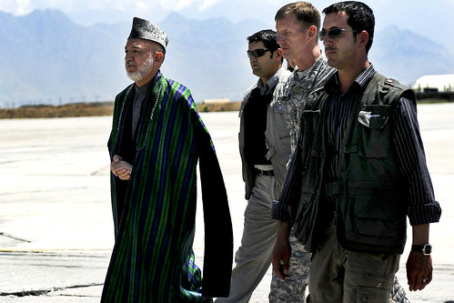 McChrystal and Karzai at Bagram