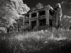 The Lost Plantation (Rodney Harvey) Tags: abandoned farmhouse rural blackwhite decay ghost haunted creepy spooky plantation abandonedhouse infrared mansion antebellum slavery