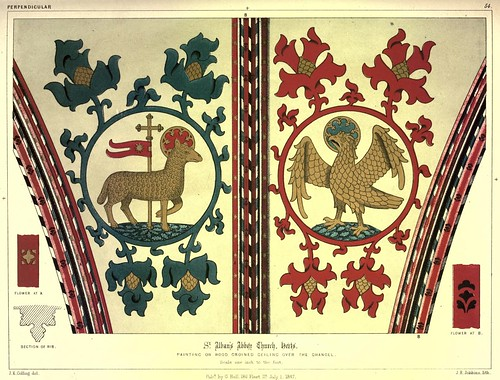 009-Pinturas sobre madera en la bóveda del coro-Iglesia de la abadia de San Albán en Herts-Gothic ornaments.. 1848-50-)- Kellaway Colling
