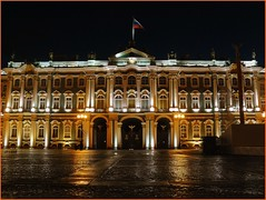 St. Petersburg, Russia - Wet night on the Hermitage (jackfre2 (on a trip-voyage-reis-reise)) Tags: windows sky green wet museum clouds reflections stpetersburg gold russia columns statues arches palace cobblestones hermitage russian winterpalace lampposts wetpavement supershot mygearandmepremium