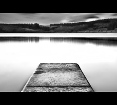 Usk Reservoir, Brecon Beacons, ND110 (Gareth Scanlon) Tags: uk trees sky bw lake water up wall 30 wales clouds photoshop 35mm landscape woods nikon raw slow forestry 10 jetty horizon reservoir breconbeacons ring step stop nd shutter af nikkor brecon beacons usk resevoir density retaining powys neutral cs4 77mm campod 10stop trecastle nd110 d300s f18g af35mmf18g