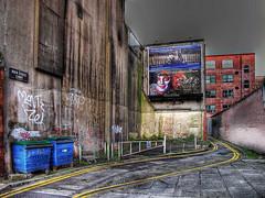 Backstreet Belfast (G Eleven) Tags: street morning blue abandoned interestingness alone belfast warehouse lane northernireland bags roads wreck hdr g11