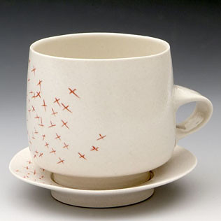White Bike Ceramics :  home porcelain tea cup kitchen