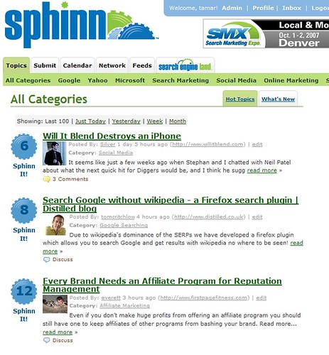 Sphinn Front Page