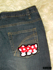 Jeans, backside (sew-mad) Tags: red white mushroom design embroidery machine jeans toadstool fliegenpilz mending farbenmix sewmad