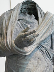 Bronze statue of a man in the contrapposto pose of oration  Greek Hellenistic mid 2nd-1st century BCE (1) (mharrsch) Tags: statue greek contrapposto oration metropolitanmuseumofart orator 2ndcenturybce mharrsch himation