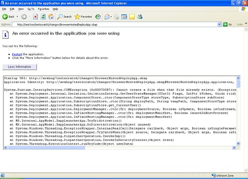 Sample XBAP deployment error from ClickOnce