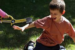 Unfair Advantage (Sharon Mollerus) Tags: kids children play pirates games sword imagination 20070829gkids4