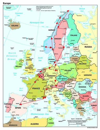 Mapa recorrido interrail 2001 por ti.