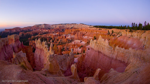 Dawn color panorama at Bryce Canyon