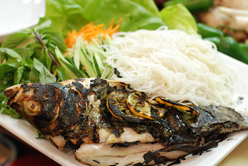Grilled Striped Bass with Grape Leaves