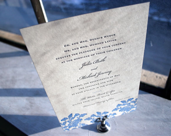 Rhon letterpress wedding invitations - blues and grays - by Smock
