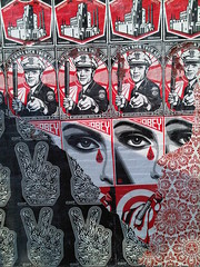 Shepard Fairey mural at Rocket Cat Cafe