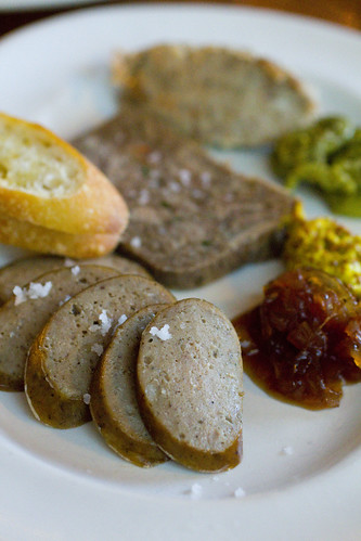 boar rilletes, oxtail terrine, duck sausage