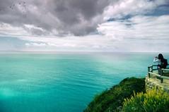 Blisscape (Dr. Azzacov) Tags: blue sea sky espaa girl azul boat mar spain nikon barco chica dr cyan cielo nubes 1855 cdiz cluds cian d40 azzacov