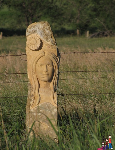 Carved Limestone Fence Post