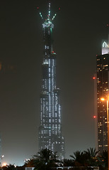 Burj Dubai from my neighbourhood (seven years) Tags: world building night skyscraper canon dubai uae som burj tallest 400d