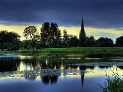 St Mary's Church sunset reflection, Lichfield (Corica) Tags: church relection hdr lichfield stowepool photmatix canon1755mm canon400d superaplus aplusphoto stmaryslichfield