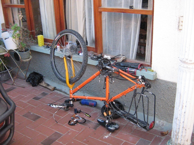 The bicycle disassembled.